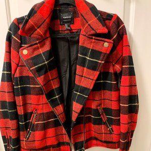 Red Plaid Wool Zipper Accent Women's Jacket